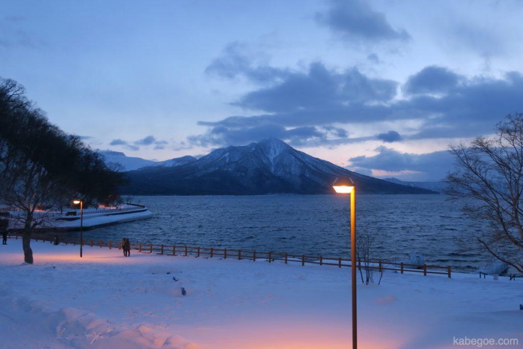 氷濤まつりの支笏湖
