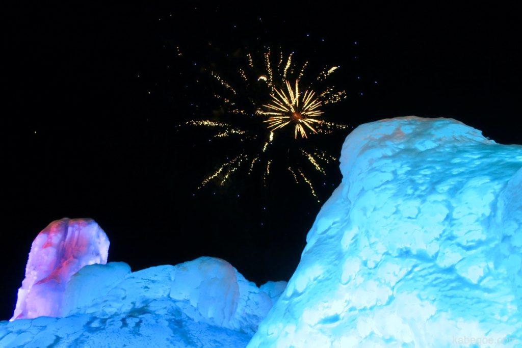 氷濤まつりの花火