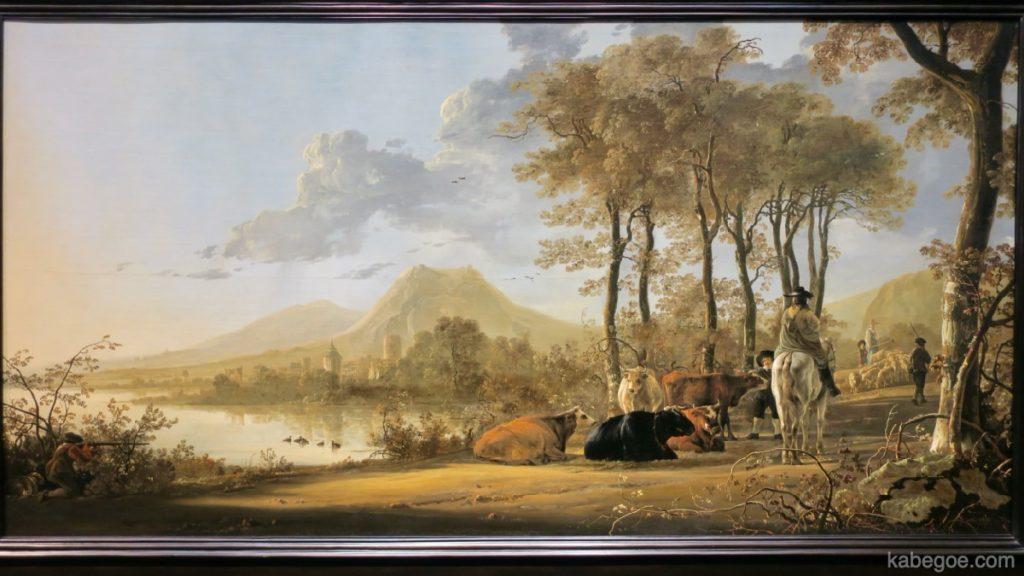 アルベルト・カイプ「騎馬人物と農民のいる川辺の風景」
