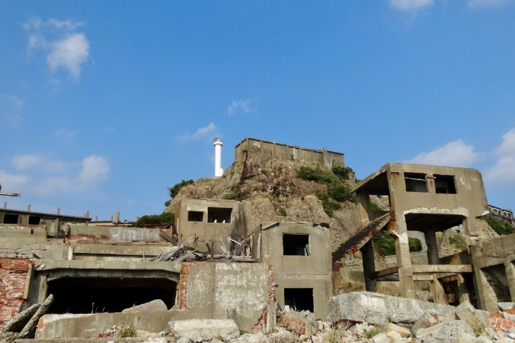 軍艦島の第二竪坑坑口桟橋跡