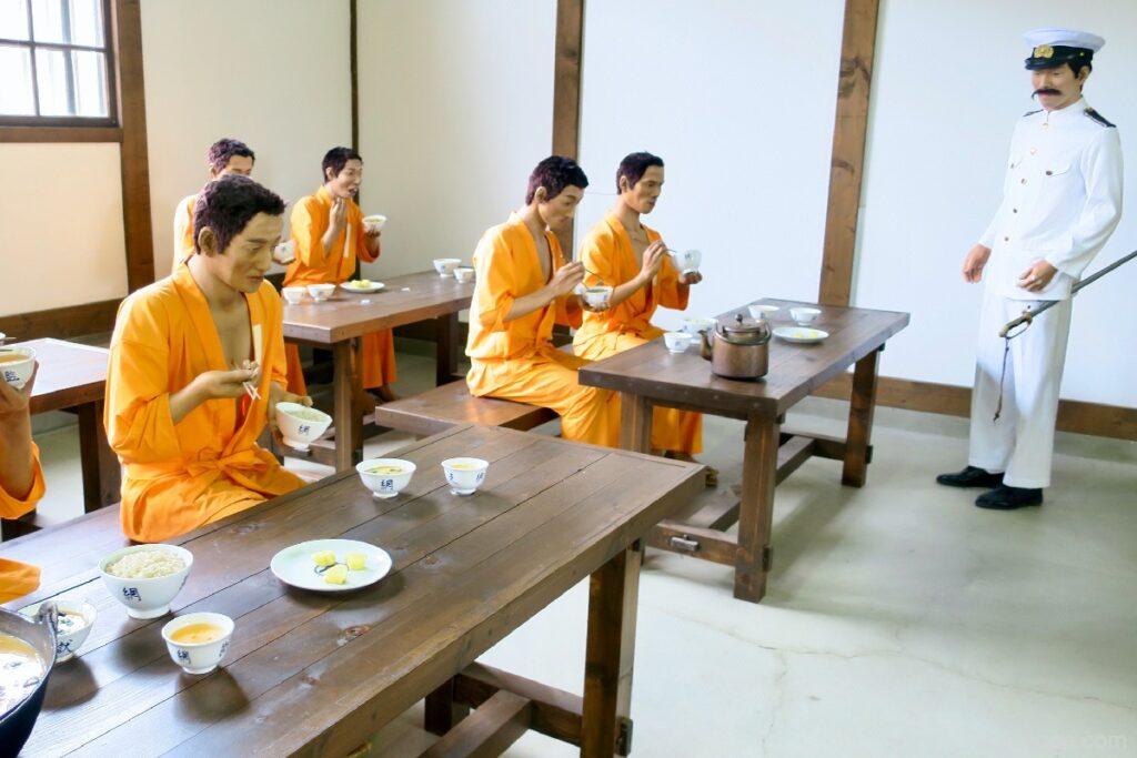 網走監獄の食事風景
