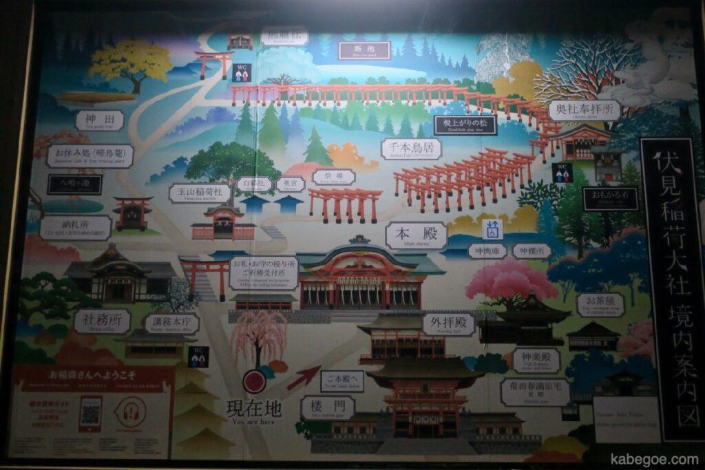 Mappa guida del Santuario Fushimi Inari Taisha